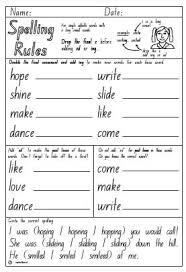 spelling rule drop e ing or ed activity sheet english skills