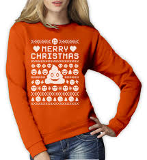 funny ugly christmas sweater smiley emoticon xmas women