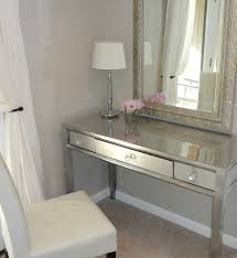 White And Mirrored Bedroom Furniture Thrift Store Desk Makeover Using Spray Paint And Silver Leaf