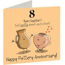 8th wedding pottery anniversary card