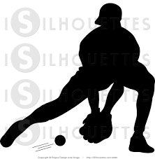 silhouette vector clipart of a silhouetted baseball player