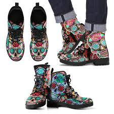 flower sugar skull boots printedkicks