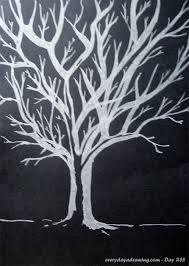 day 058 drawing of silver tree on black paper every day a drawing