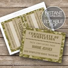 army camo certificate of completion printable editable basic