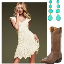crochet dress and cowboy boots polyvore