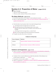 Prentice Hall Inc Science Worksheet Answers Section 2 U20132 Properties Of Water Pages 40 U201343