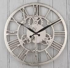 large wall clock contemporary nickel cogs metal wall clock