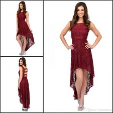 high low burgundy lace cocktail dresses hollow back scoop neck cap