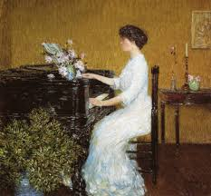 at the piano frederick childe hassam oil painting
