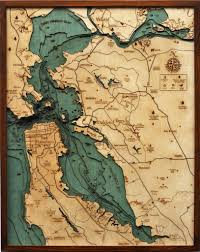 Nautical Map Tattoo San Francisco Bay Wooden Bathymetric Chart The Underwater