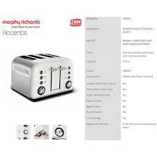 4 Slice Toaster White Morphy Richards 242021 White Chrome Accents 4 Slice Toaster