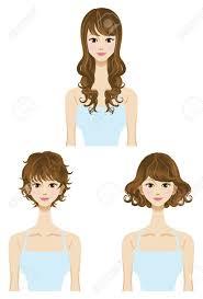 perm hair style set three types length short medium long hair