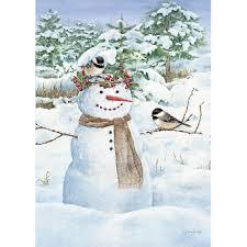 jane shasky chickadee snowman large garden flag 739744157281