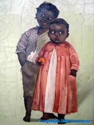 folk art painting black children rare early 1800s