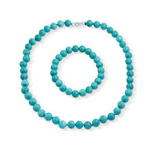 turquoise necklace set images 925 silver beaded turquoise necklace and bracelet set jpg
