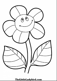 Brilliant Coloring Page Of Smiling Sunflower Pages The Little With Sunflower Coloring Page