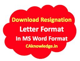resignation letter format sample template format in doc