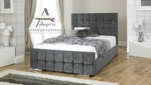 King Size Bed Frame Storage Nevada Cube Fabric Upholstered Bed Frame Storage 4 6 5ft