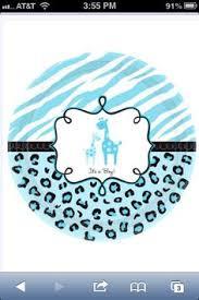 blue giraffe scalloped baby shower cupcake toppers leopard zebra