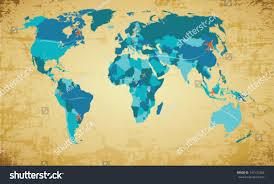 Vector World Map Editable Vector World Map On Vintage Stock Vector 142123366