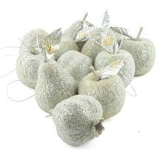 silver beaded fruit ornaments ornaments