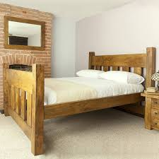 King Wooden Bed Frame Handmade Chunky Solid Wood Plank Post Slatted Bed Frame In Single