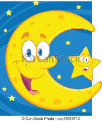 smiling crescent moon and characters vector