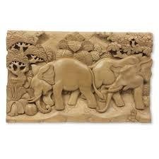 novica elephant soccer three dimensional carved wood panel