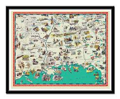 Louisiana Tech Map by Arkansas State Vintage Graphic Art Illustrated Map Of Arkansas
