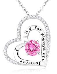 double hearts necklace images Christmas gifts for lady pink sapphire swarovski jpg