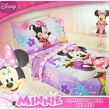Toddler Minnie Mouse Bed Set Disney Minnie Mouse 4 Piece Toddler Bedding Set Walmart Com