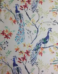 hm118 peacock blue bird watercolor painting upholstery home decor