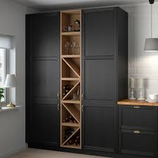 gray brown stained kitchen cabinets vadholma wine shelf brown stained ash ikea