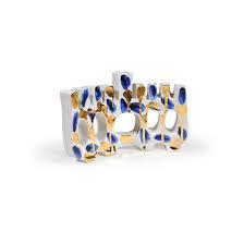 ceramic menorah cobalt and gold painted ceramic menorah by paula greif