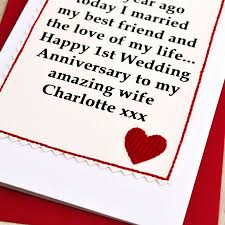 personalised 1st wedding anniversary card by arnott cards
