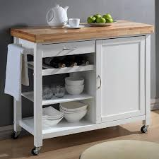 Mobile Kitchen Cabinet Baxton Studio Denver White Kitchen Cart With Butcher Block Top