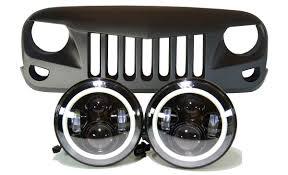 jeep angry headlights jeep jk projector headlights halo u0026 eagle eye grille combo pack