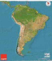 South America Map Labeled by Graphatlascom America North America Satellite Wall Map Mapscom