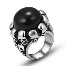 skull wedding rings black white color ring stainless steel skull wedding