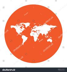 Flat Map Of The World Map World Flat White Symbol Orange Stock Vector 309666827