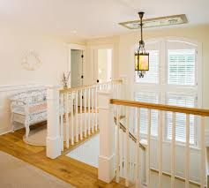 settee bench in staircase traditional with deck balusters next to