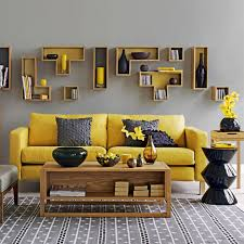 living room yellow and grey living room with mustard sofa