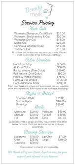 haircut express prices salon service menu w diff haircut options pinteres