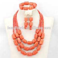 chunky necklace set images Nigerian coral beads jewelry set african chunky statement necklace jpg