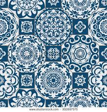 seamless patchwork pattern blue beige moroccan stock vector