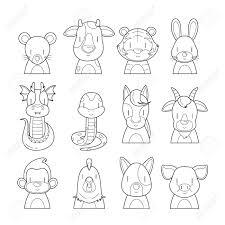12 animals chinese zodiac signs outline icons set horoscope