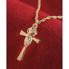 cross with rose necklace images Black hills gold rose and cross necklace 230515 jewelry at jpg