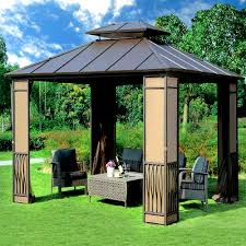 patio gazebo canopy 10 x 12 heavy duty galvanized steel hardtop wyndham patio gazebo