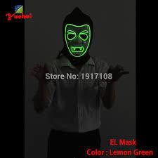 Lemon Halloween Costume 1pc El Wire Masks Halloween Lemon Green Vampire Mask Glowing El