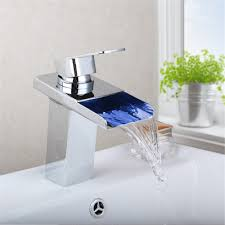 led waterfall square glass bathroom faucet sink tap basin mixer